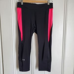 Under Armour Black Crop Leggings With Pink Accent